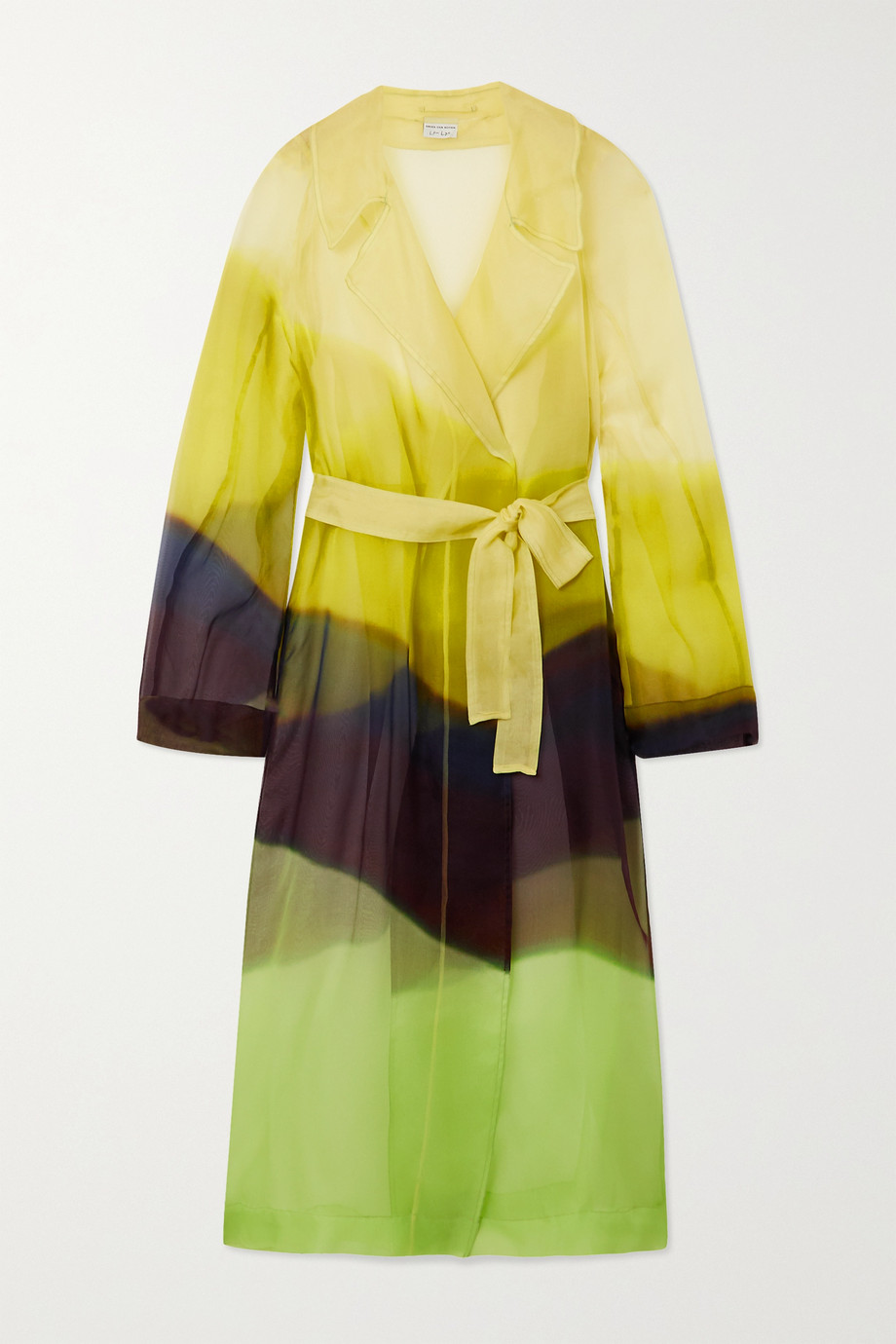 Dries Van Noten Rozan belted color-block silk-organza trench coat