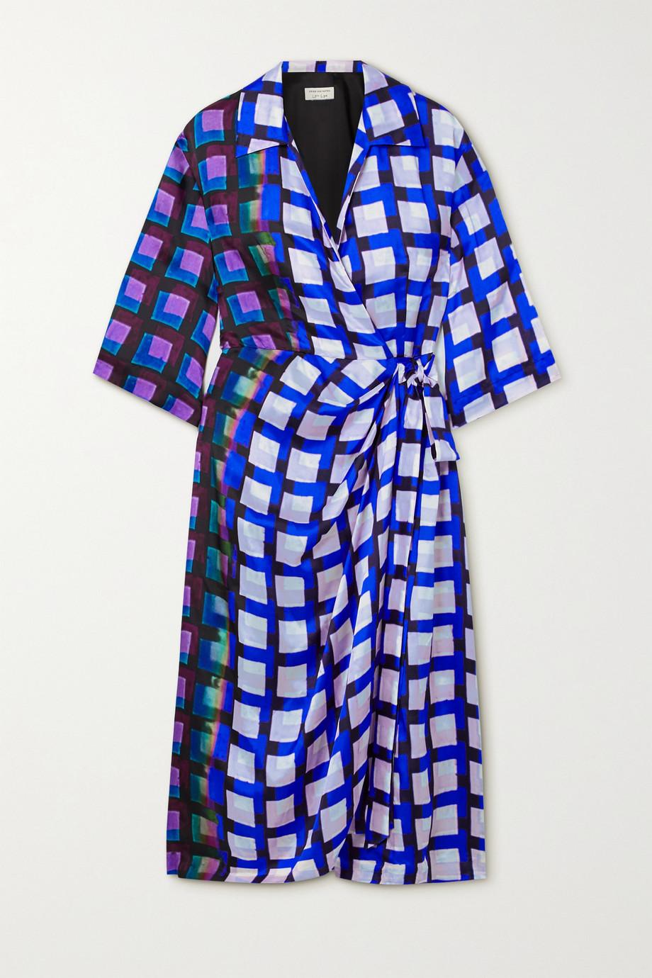 Dries Van Noten Printed satin midi wrap dress
