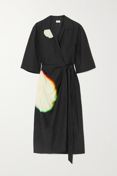 Dries Van Noten PRINTED COTTON-POPLIN WRAP DRESS