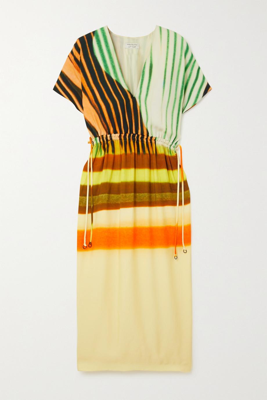 Dries Van Noten Dorias drawstring tie-dyed striped faille midi dress