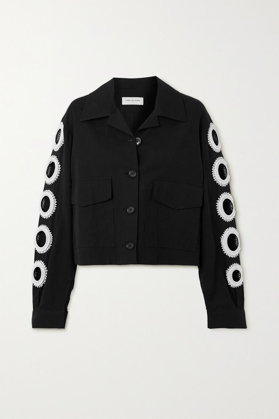 Dries Van Noten Vokar cropped bead-embellished cutout cotton-blend jacket