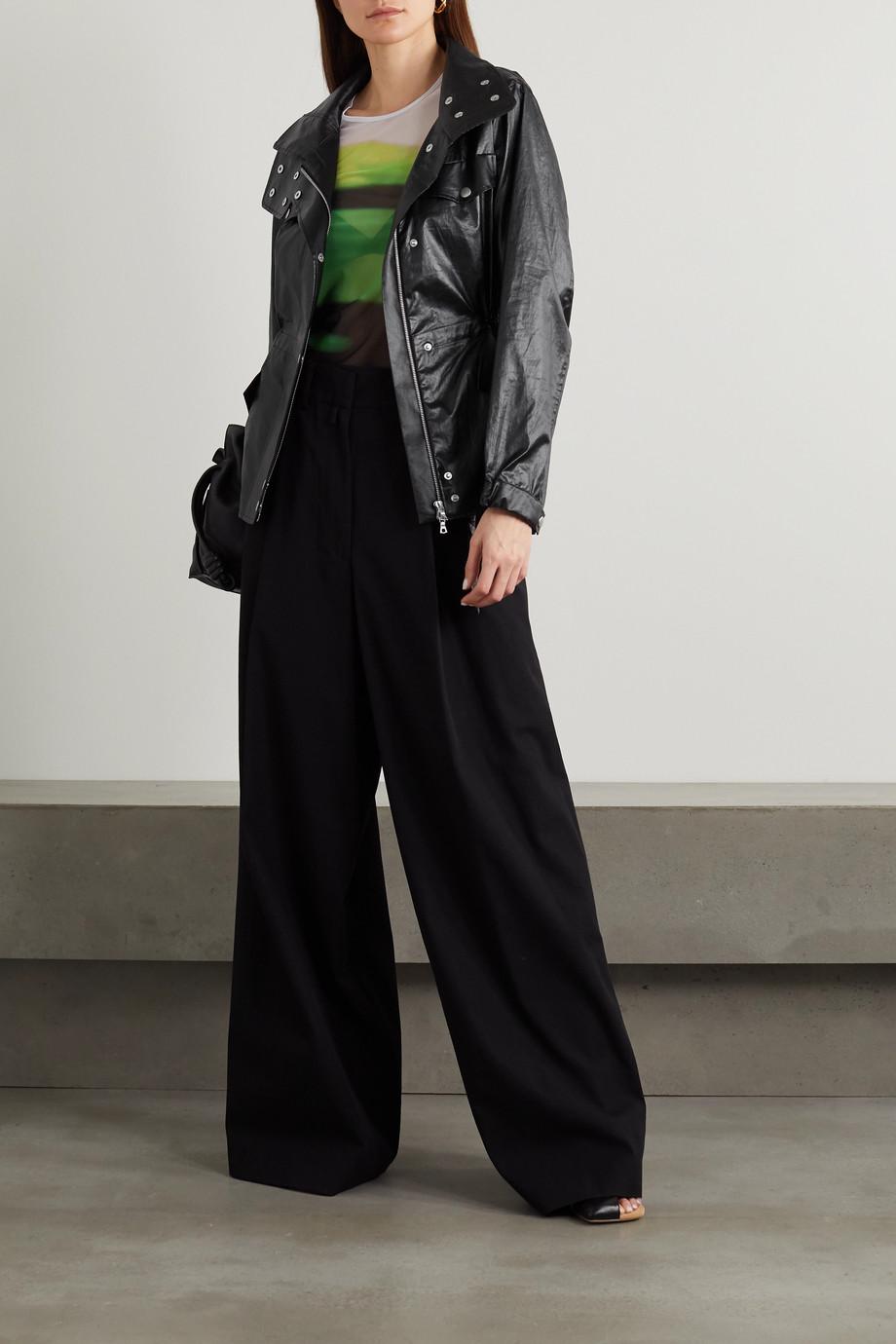 Dries Van Noten Vora belted glossed cotton-blend jacket