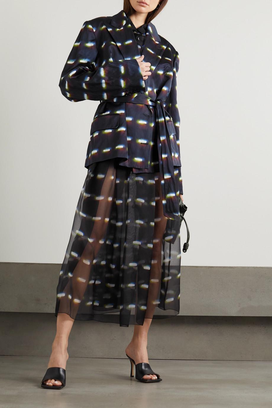 Dries Van Noten Sakura pleated printed silk-organza midi skirt