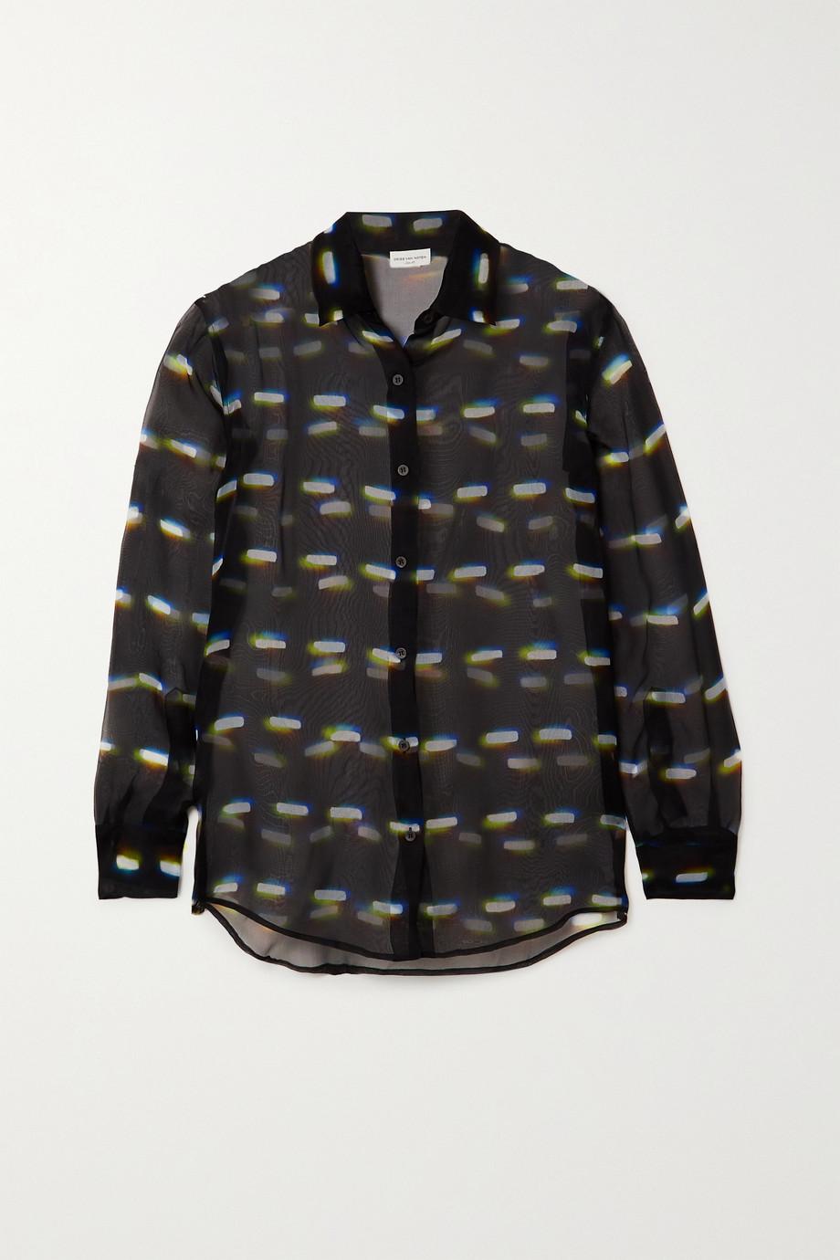 Dries Van Noten Clavelly printed silk-organza shirt