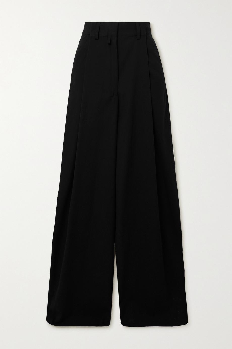 Dries Van Noten Pleated cotton-blend twill wide-leg pants