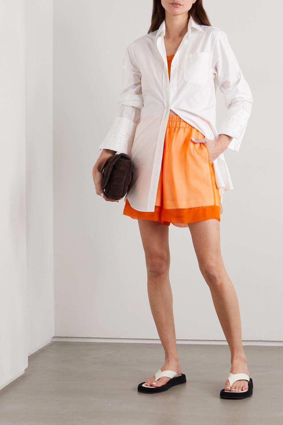 Dries Van Noten Layered silk-organza and cotton-jersey shorts