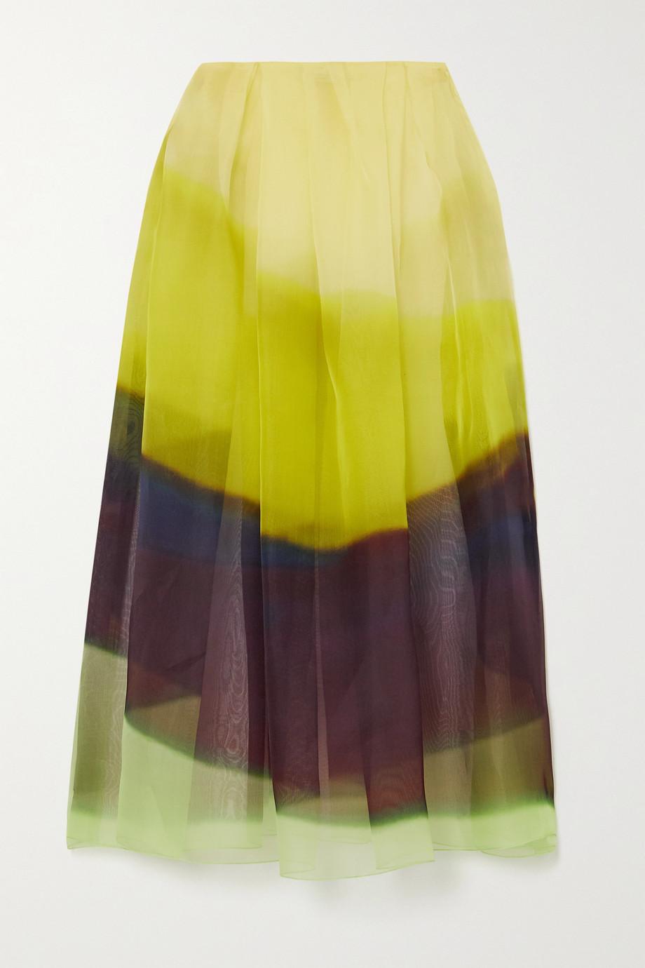 Dries Van Noten Pleated striped silk-organza skirt