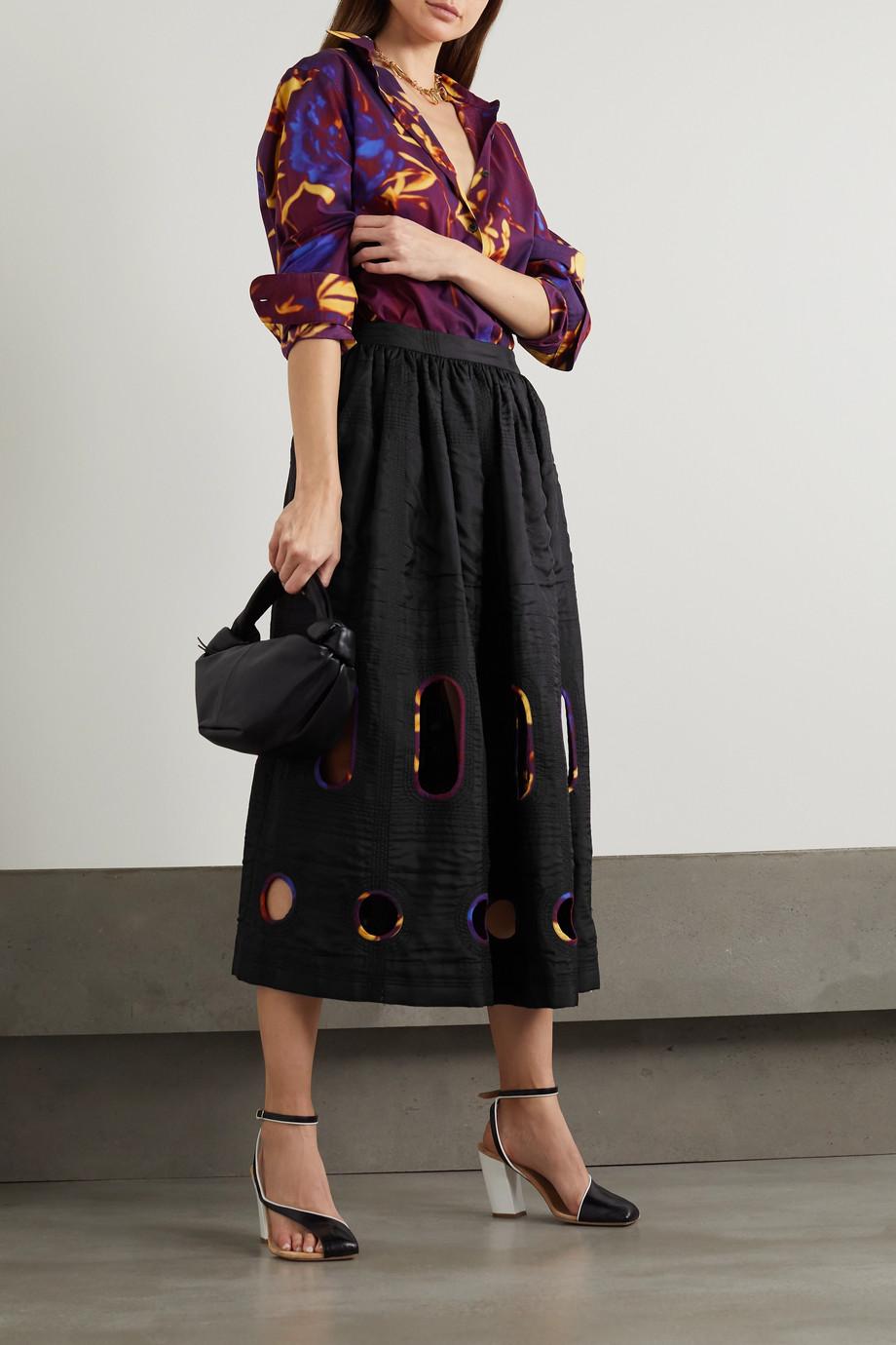 Dries Van Noten Cutout silk and cotton-blend midi skirt