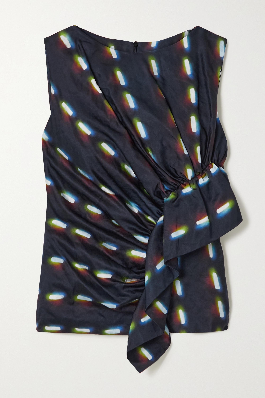 Dries Van Noten Gathered ruffled printed woven top