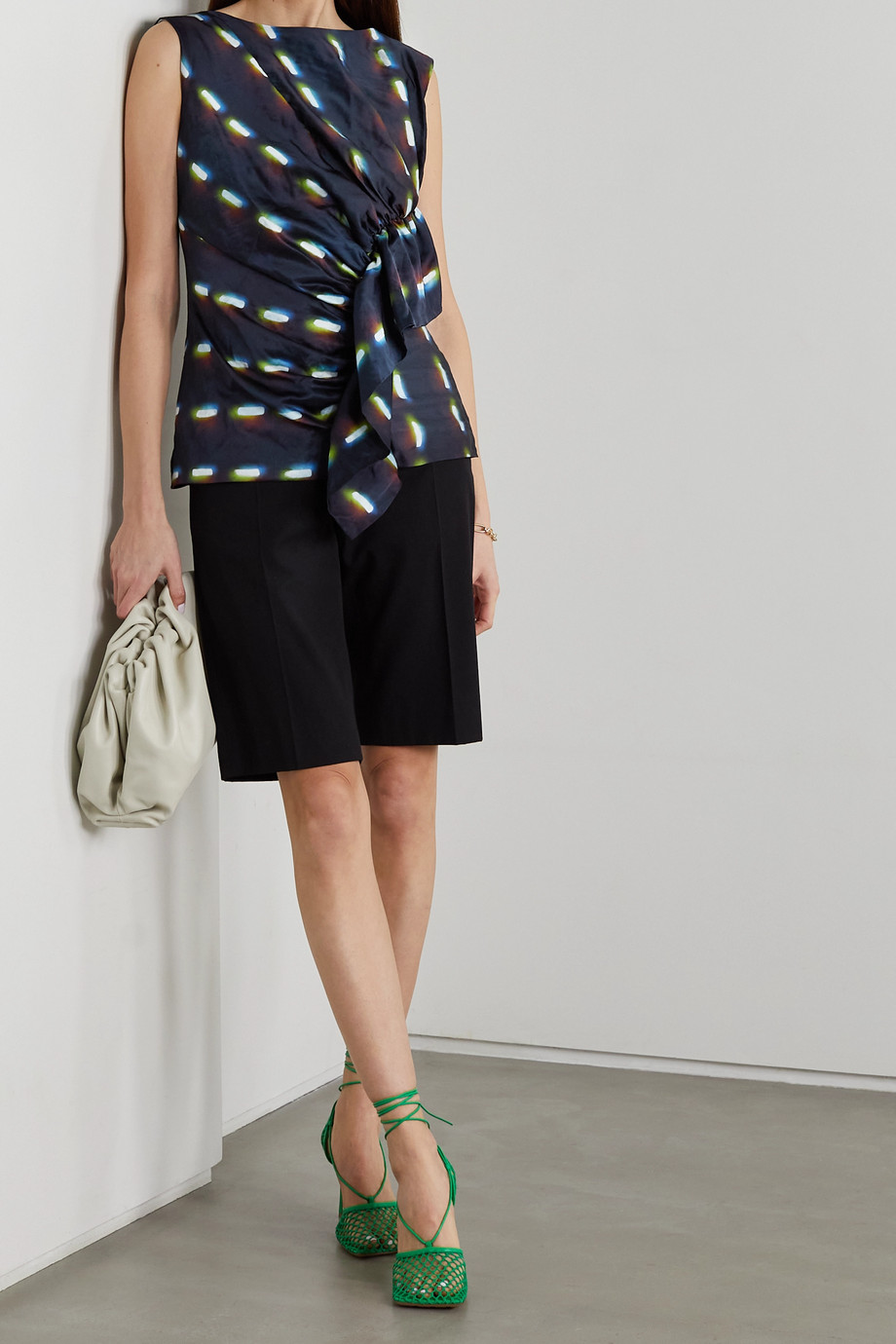 Dries Van Noten Gathered ruffled printed woven top