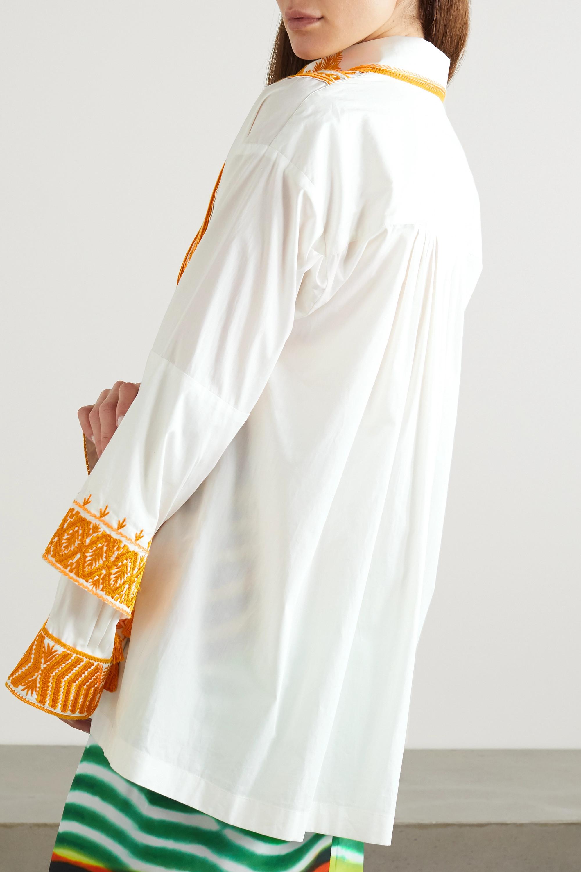 Dries Van Noten Tasseled embroidered cotton-poplin shirt