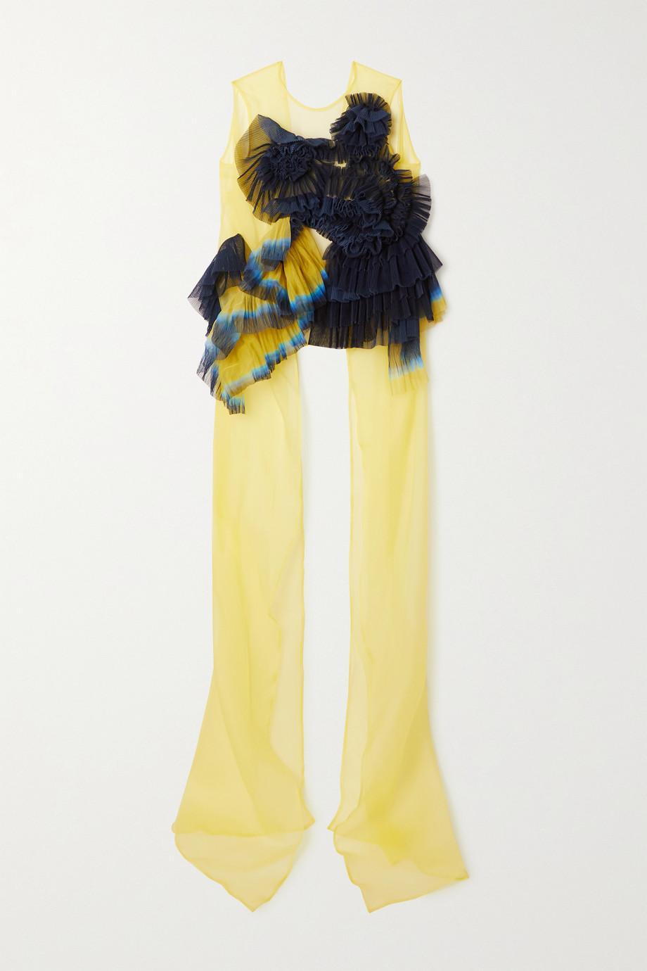 Dries Van Noten Open-back ruffled printed silk-blend organza top