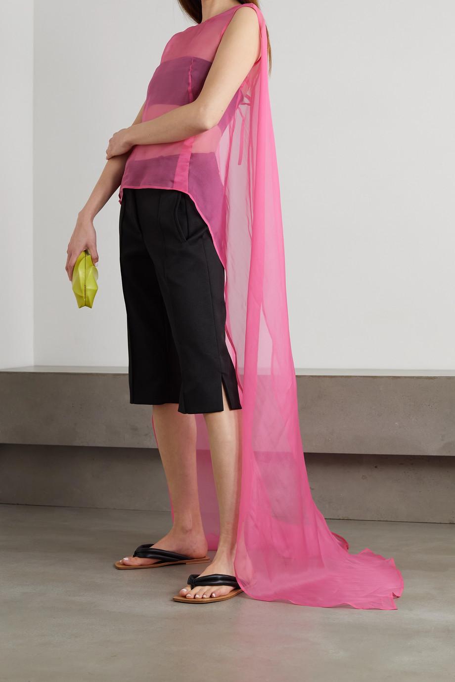 Dries Van Noten Cape-effect draped silk-organza top
