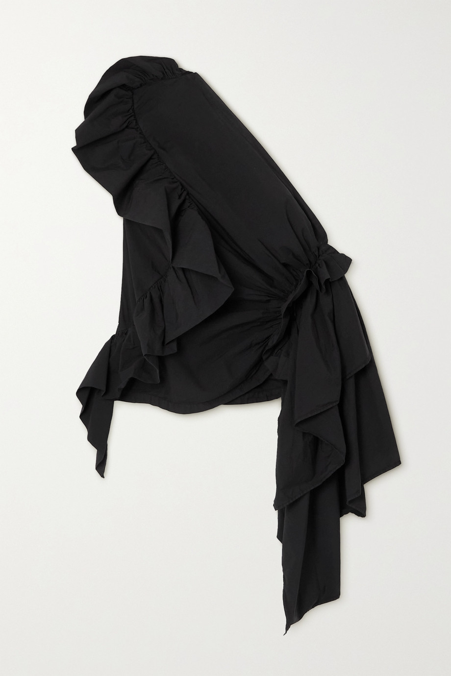 Dries Van Noten One-shoulder draped ruffled cotton-blend sateen top