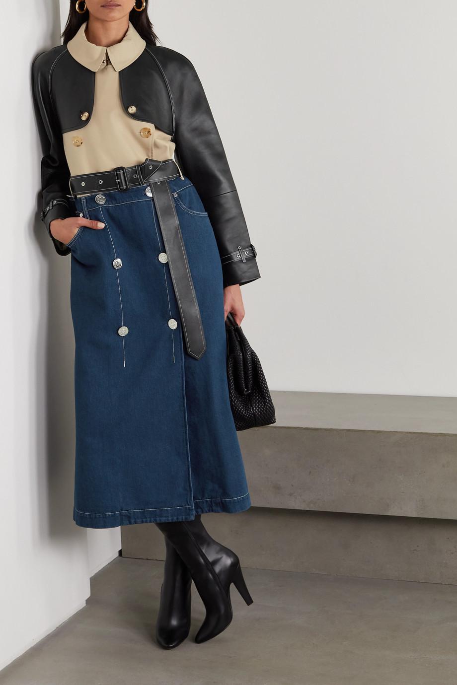 Burberry Paneled leather, denim and cotton-gabardine trench coat