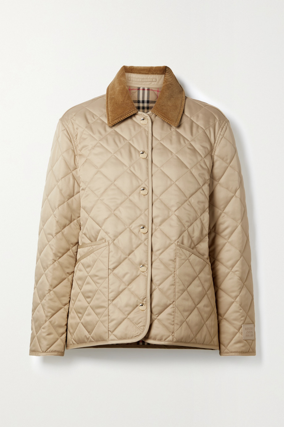 Burberry Corduroy-trimmed quilted shell jacket