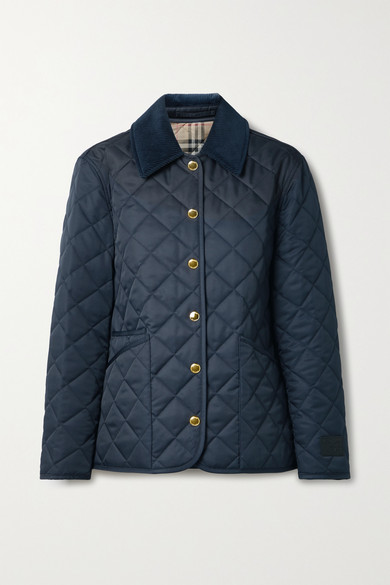 Burberry Jackets REVERSIBLE CORDUROY-TRIMMED QUILTED SHELL AND CHECKED COTTON JACKET