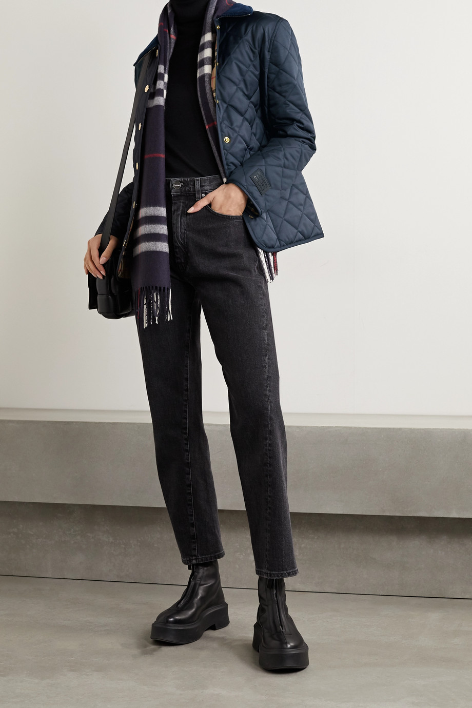 Burberry Reversible corduroy-trimmed quilted shell and checked cotton jacket