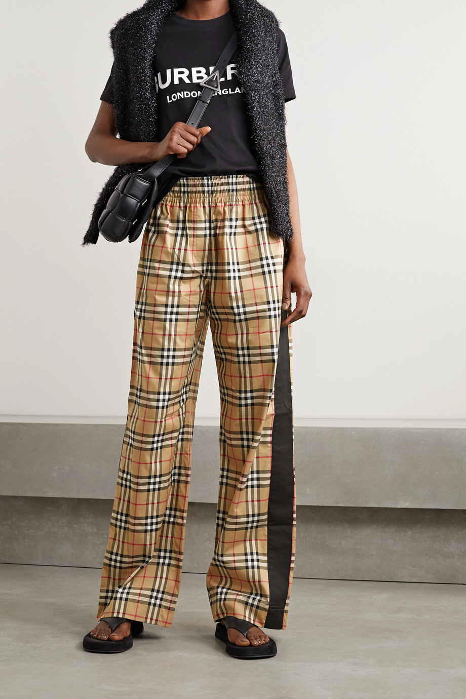 Burberry Striped checked cotton-blend wide-leg pants