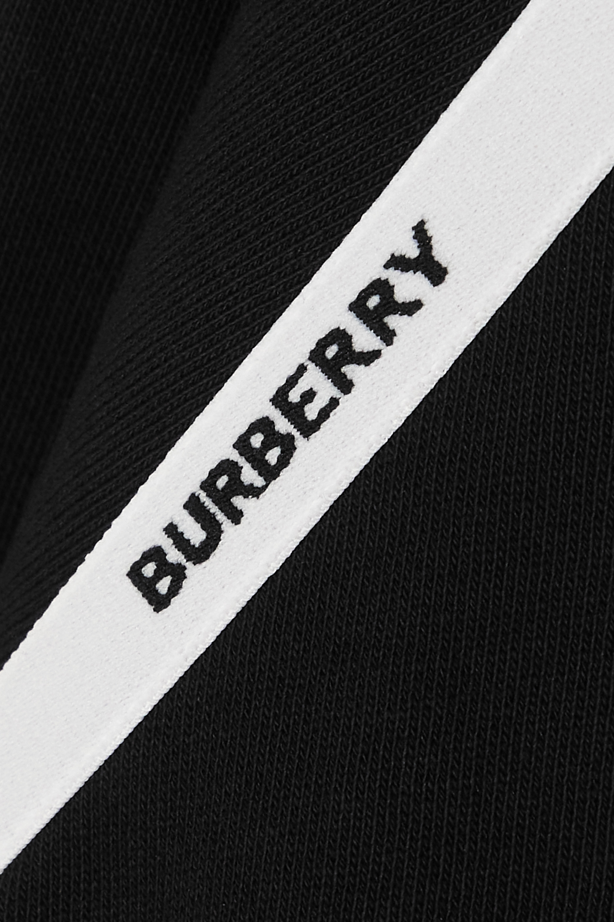 Burberry Jacquard-trimmed cotton-jersey hoodie