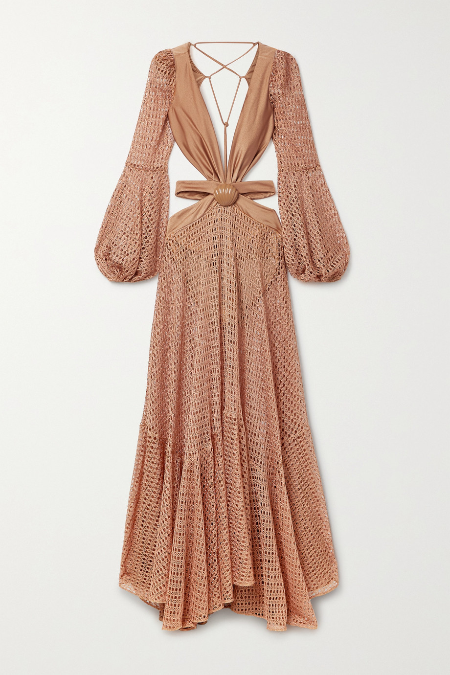 PatBO Embellished cutout stretch jersey-trimmed crochet-knit maxi dress