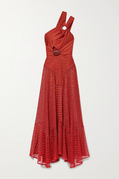 Patbo EMBELLISHED SATIN-JERSEY AND CROCHET-KNIT MAXI DRESS