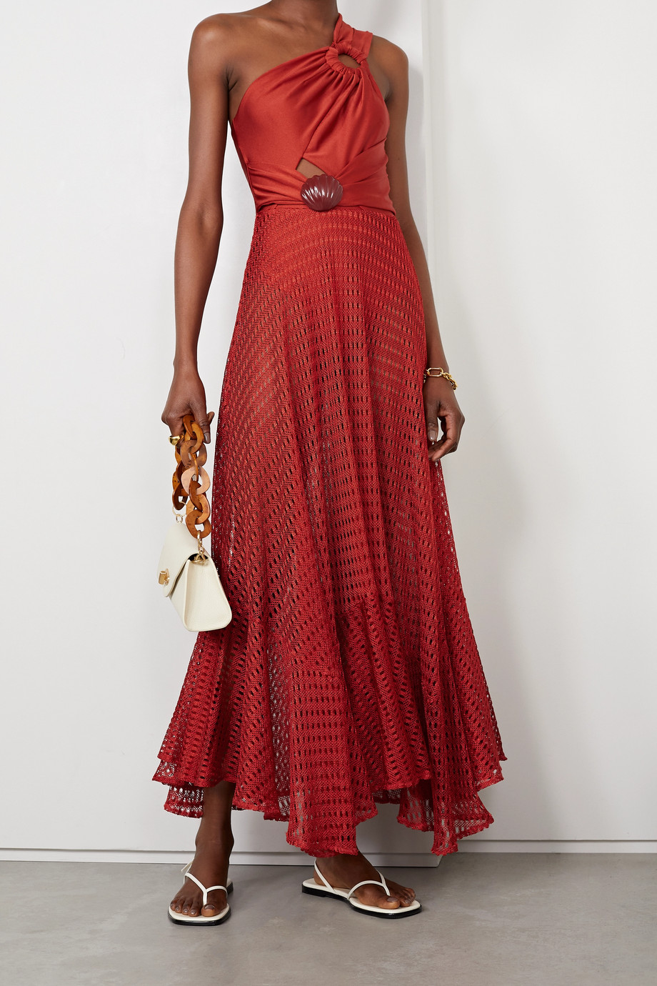 PatBO Embellished satin-jersey and crochet-knit maxi dress
