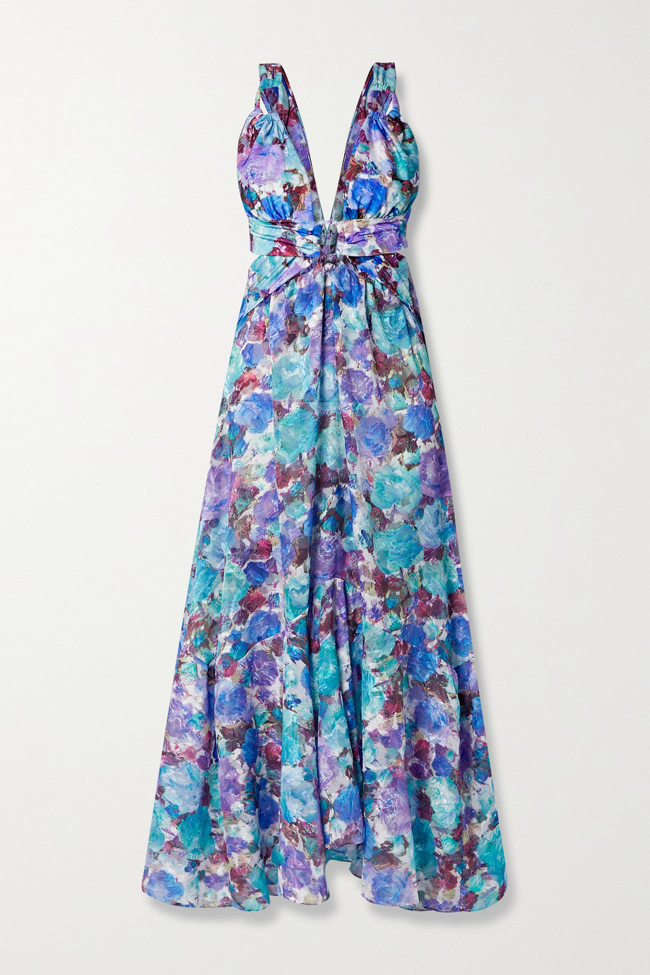 PatBO Blossom cutout floral-print jacquard maxi dress