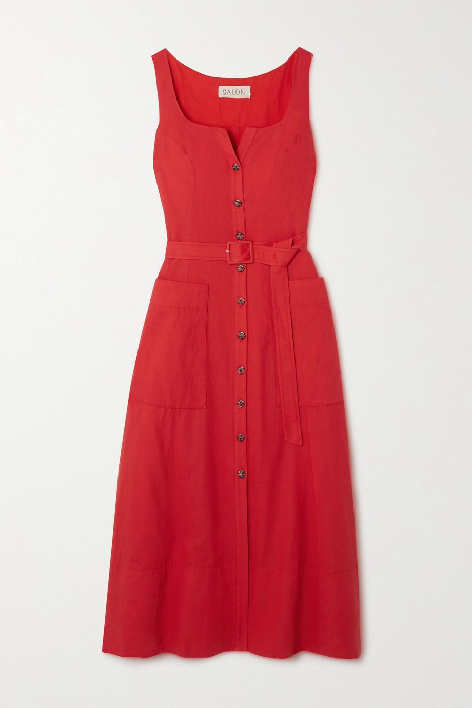 Saloni Bibba belted cotton and linen-blend midi dress