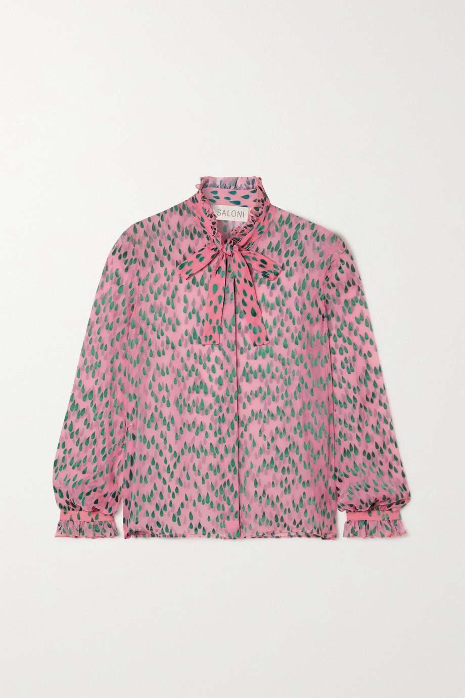 Saloni Emile pussy-bow devoré silk-blend chiffon blouse