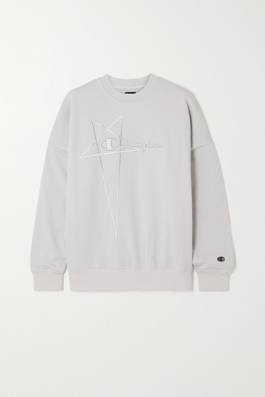 Rick Owens + Champion embroidered organic cotton-jersey sweatshirt