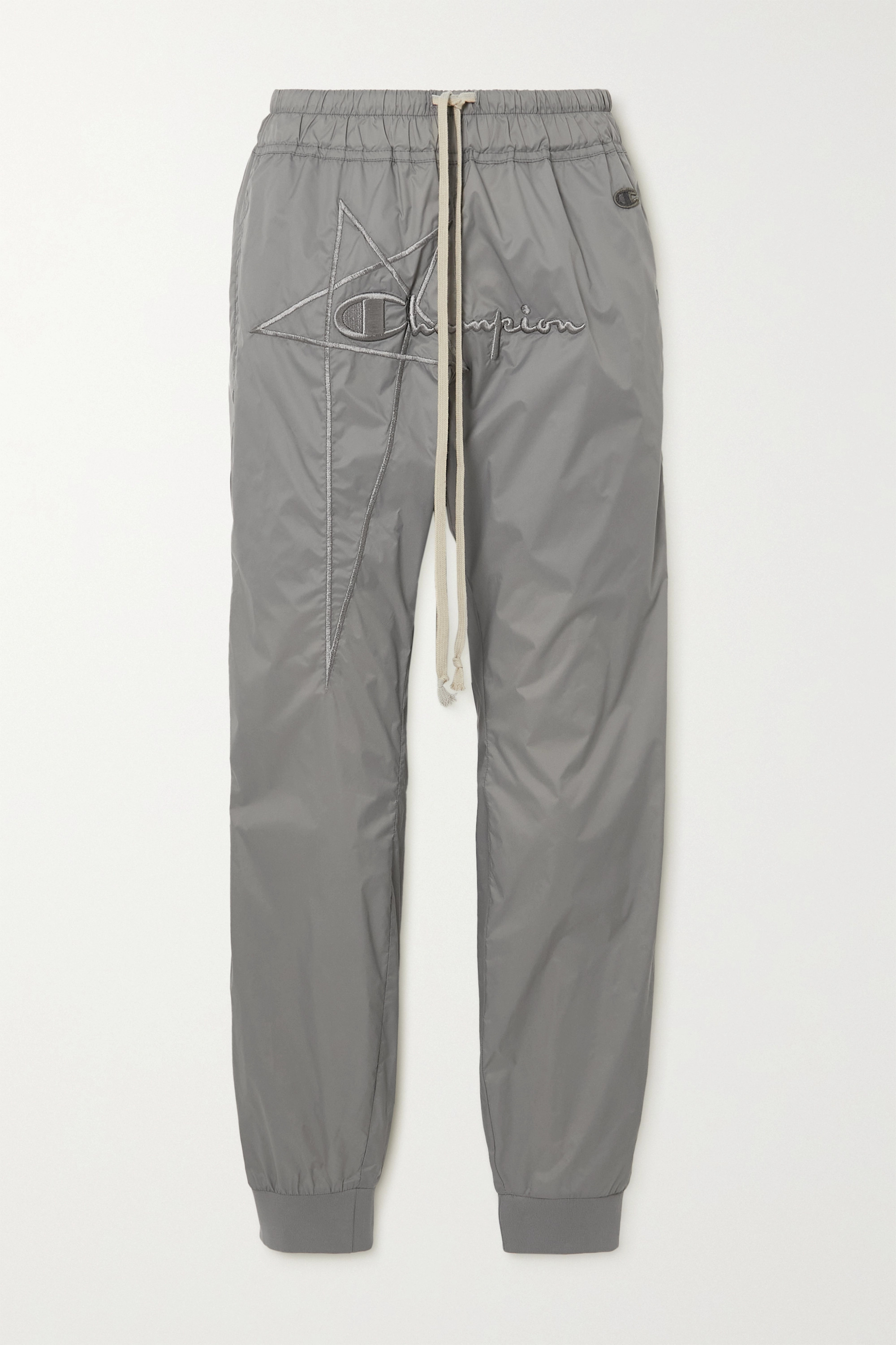 Rick Owens + Champion embroidered shell track pants