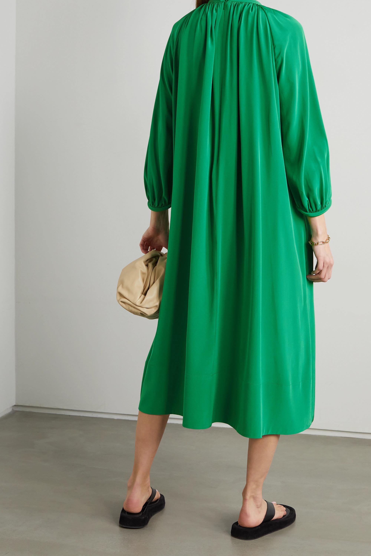 Tibi Gathered silk midi dress