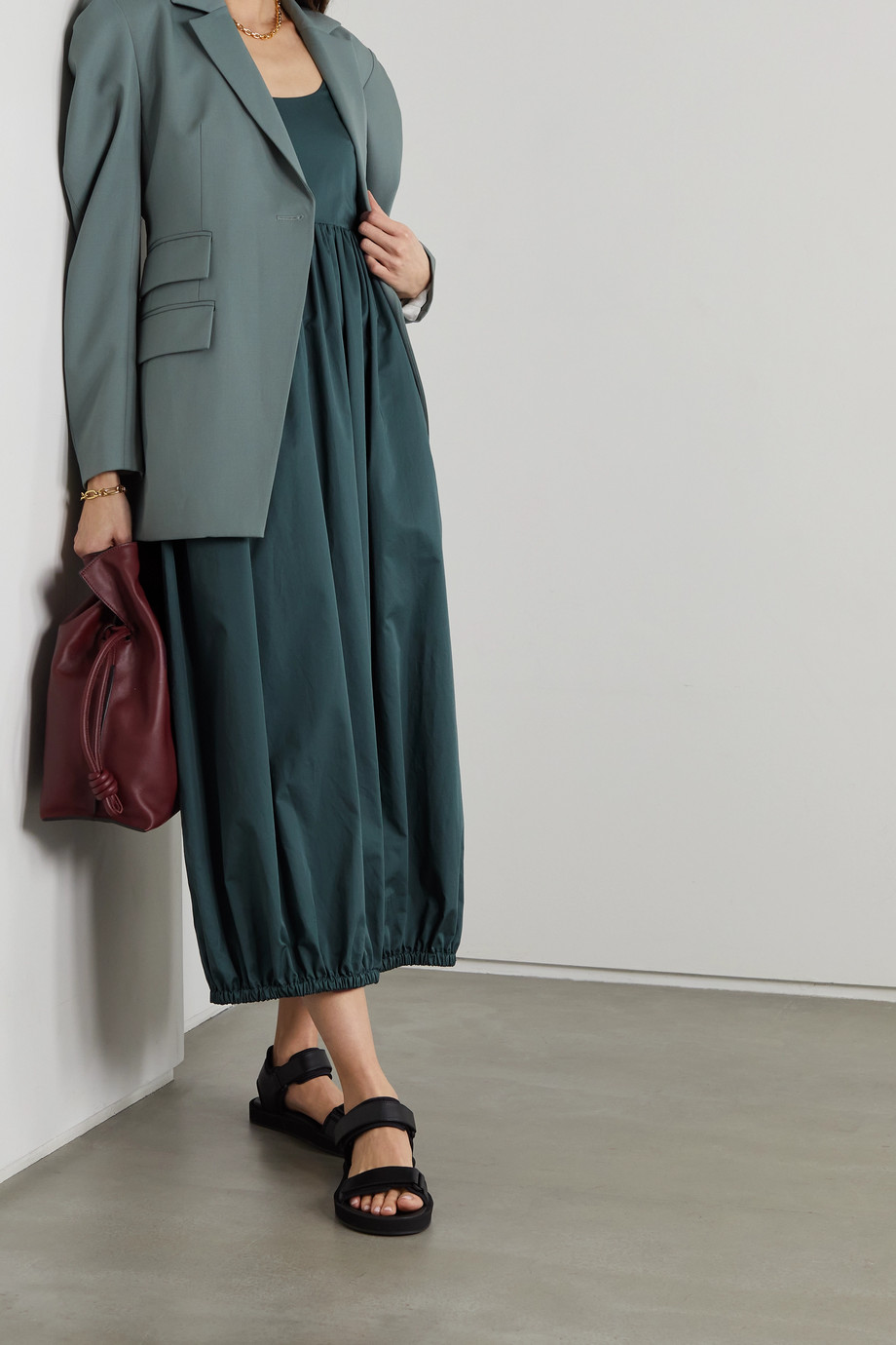 Tibi Open-back gathered cotton-poplin midi dress