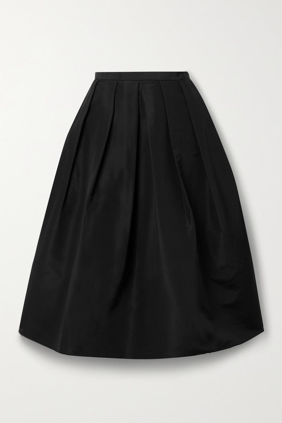 Tibi Pleated silk-faille midi skirt