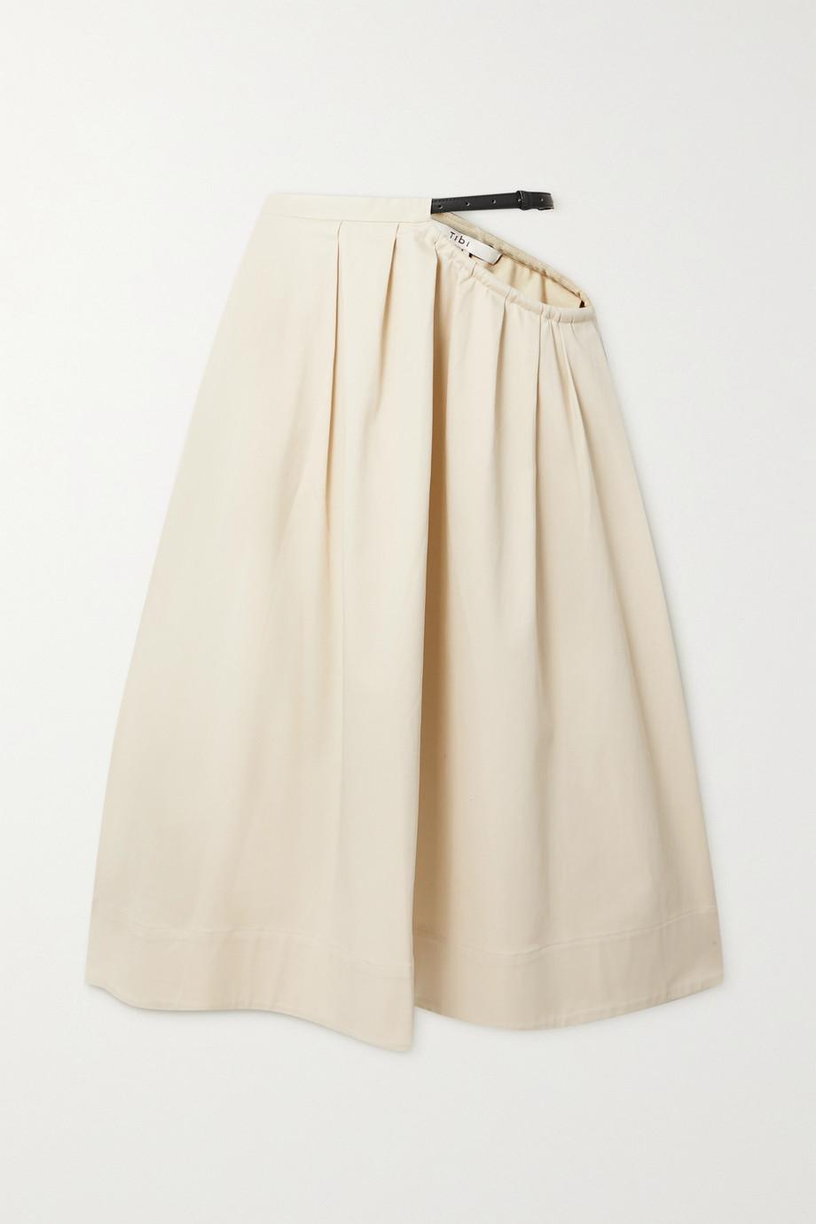 Tibi Cutout belted organic cotton-blend twill midi skirt