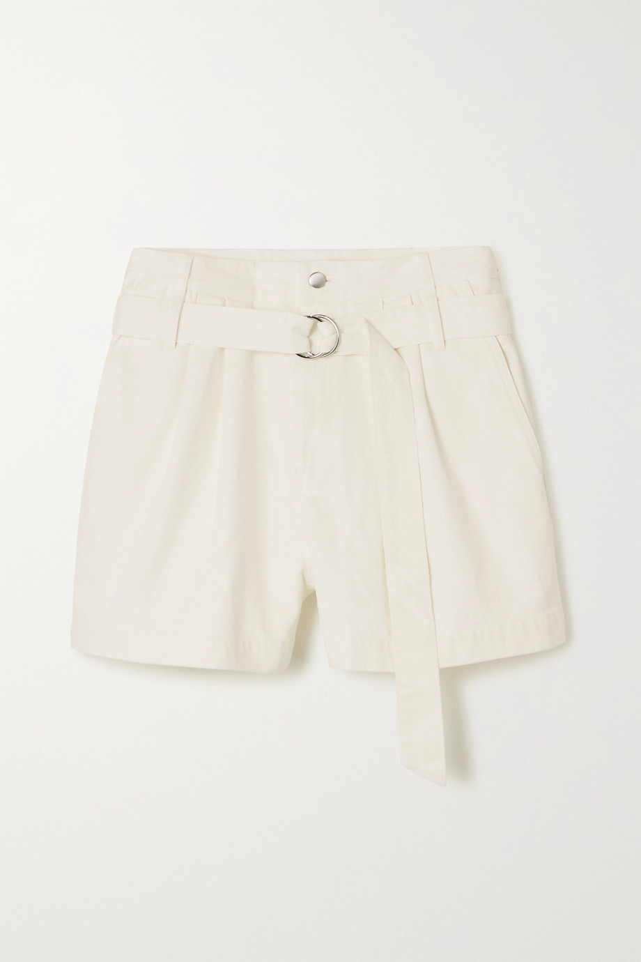 Tibi Belted pleated denim shorts