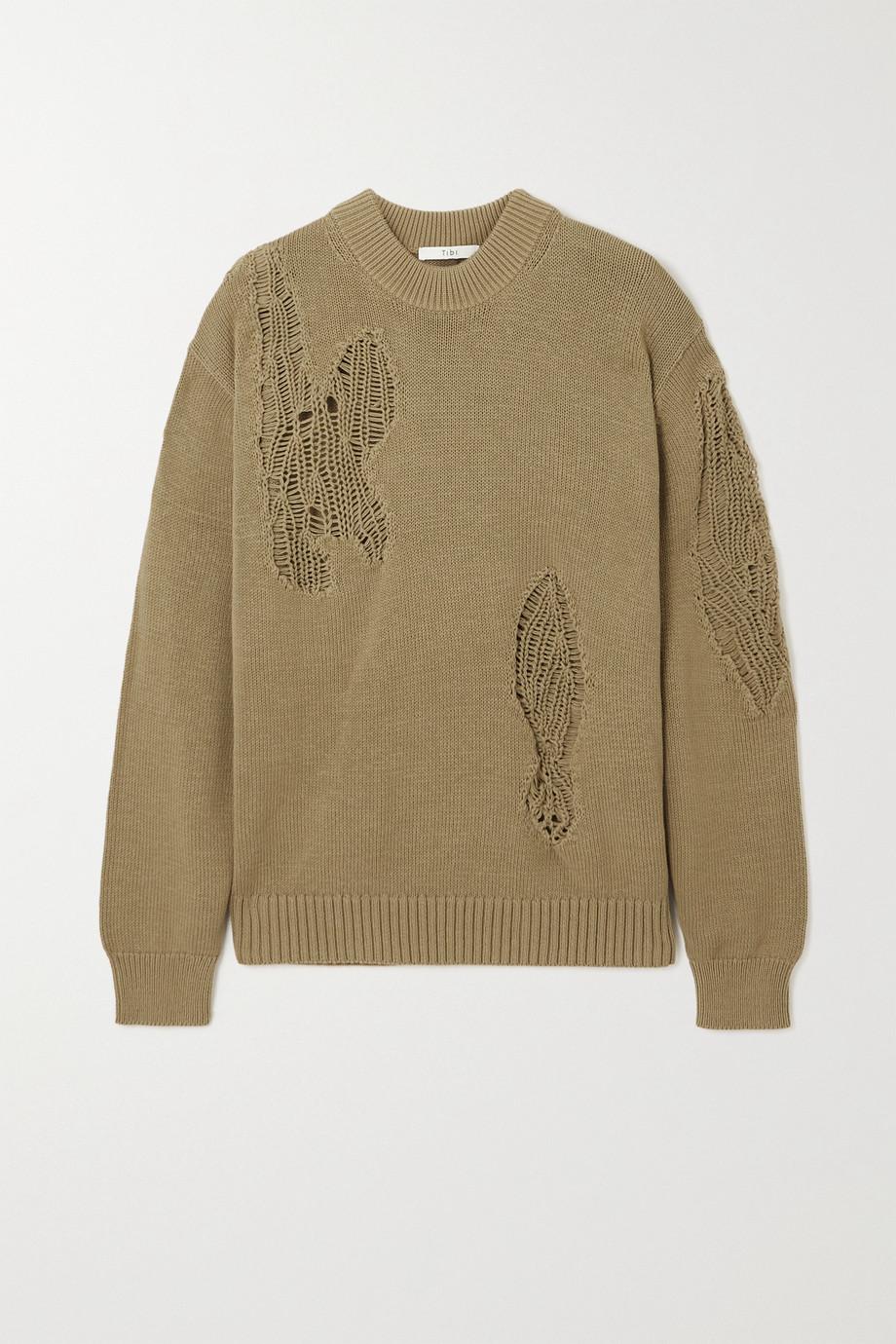 Tibi Distressed cotton sweater