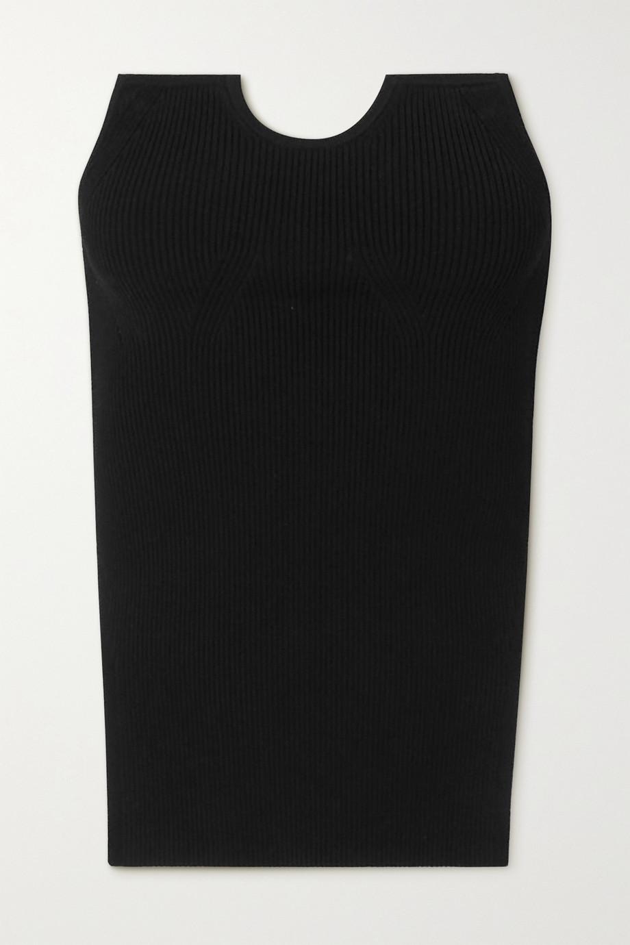 Tibi Haut bustier asymétrique en mailles stretch côtelées Giselle