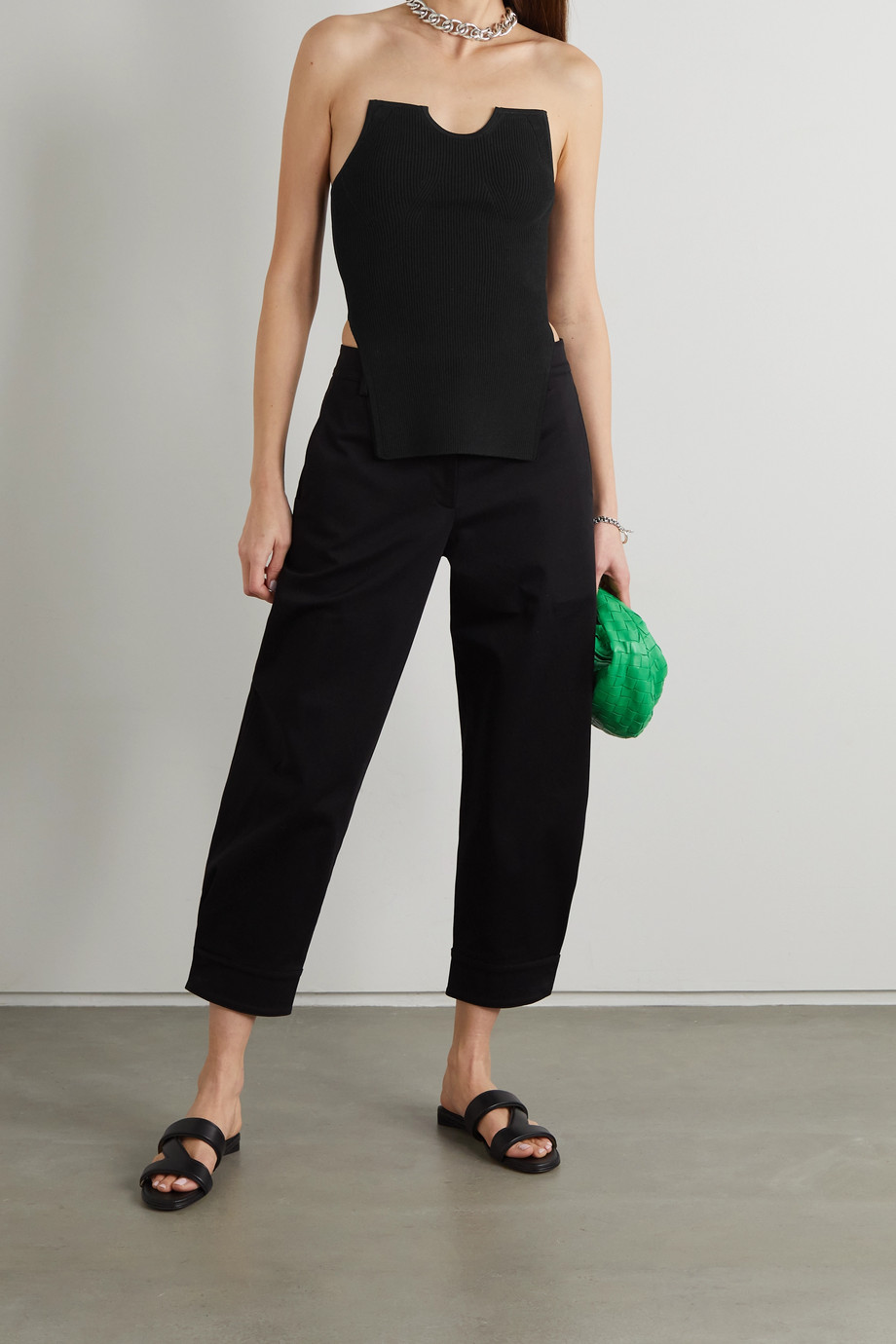 Tibi Giselle asymmetric ribbed stretch-knit bustier top