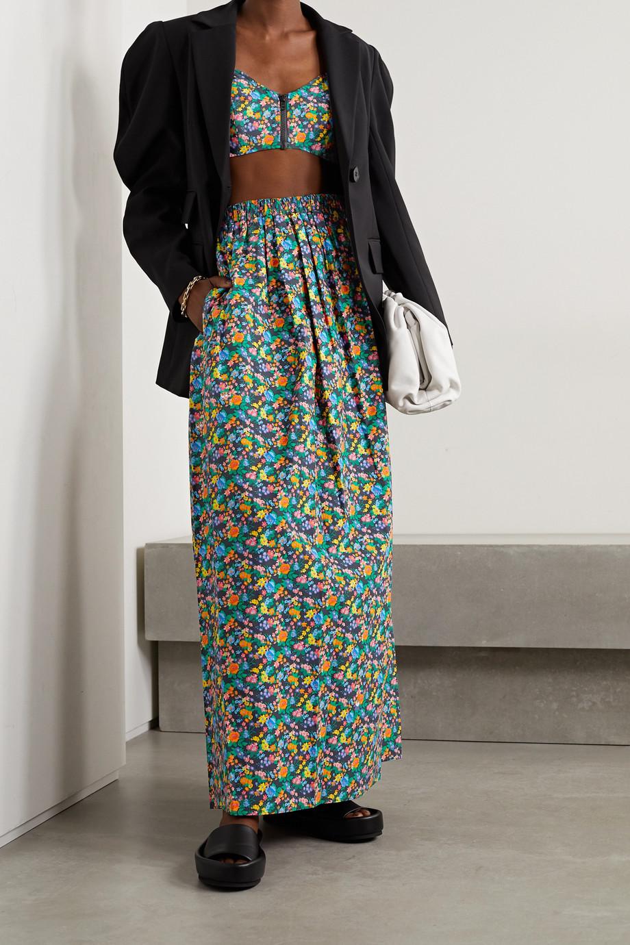 Tibi Sabine strapless cropped floral-print cotton-poplin bustier top