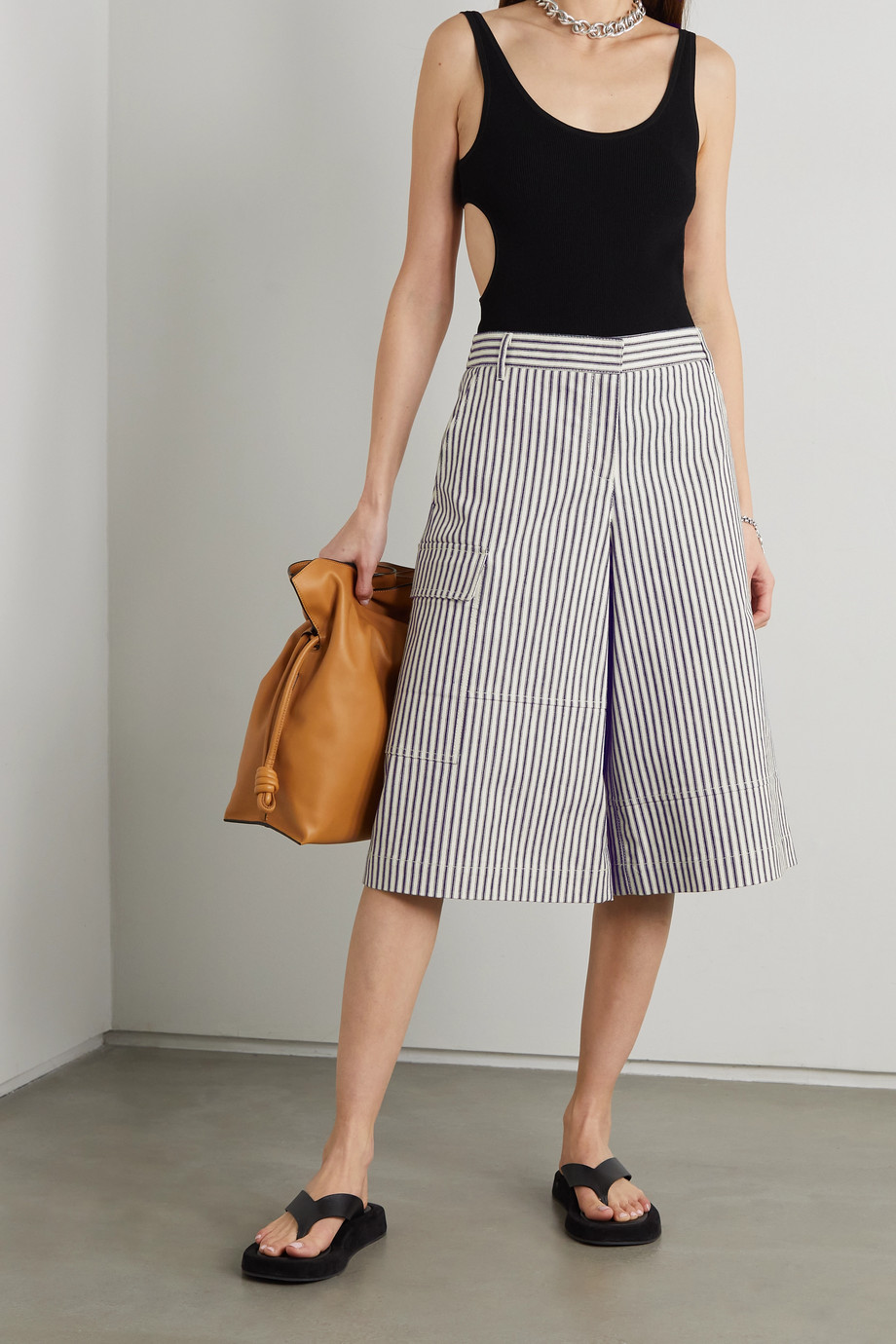 Tibi Railroad striped denim culottes