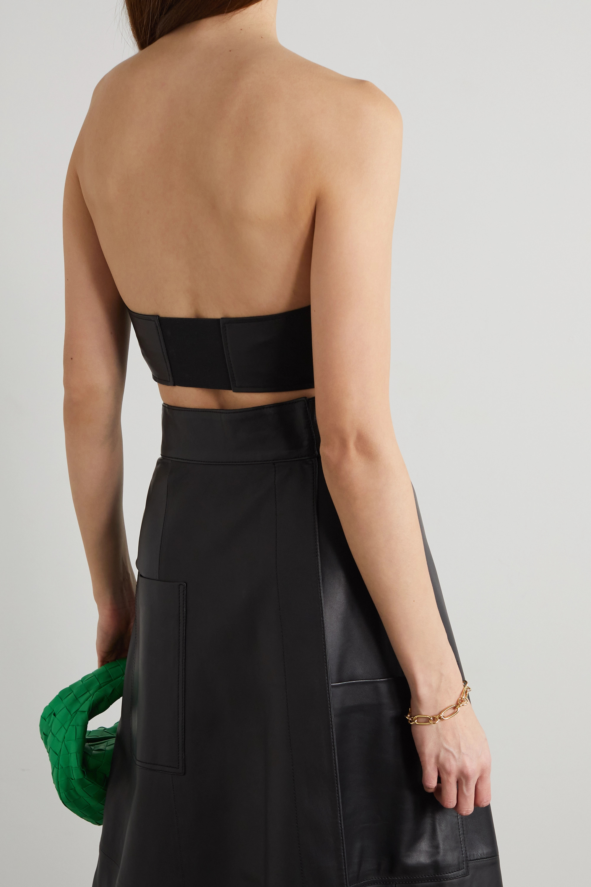 Tibi Cropped leather bustier top