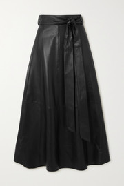 Tibi Belted leather wrap midi skirt
