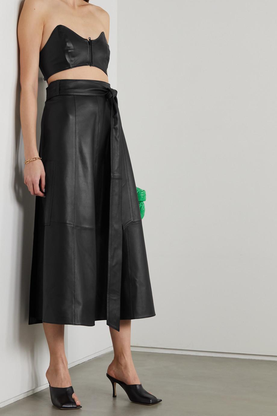 Tibi Belted leather wrap midi skirt