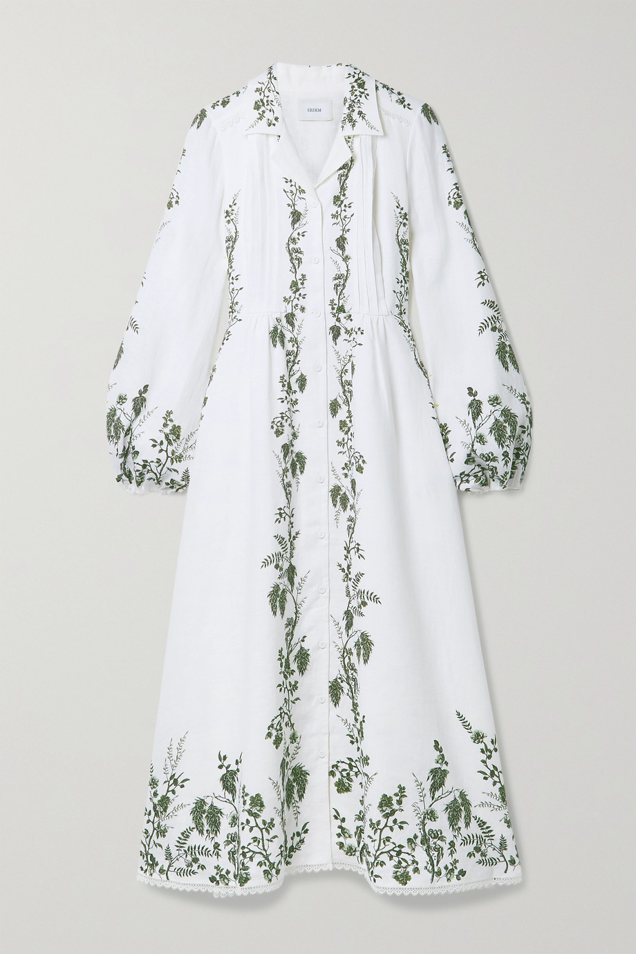 Erdem Kendrick pintucked floral-print linen midi shirt dress