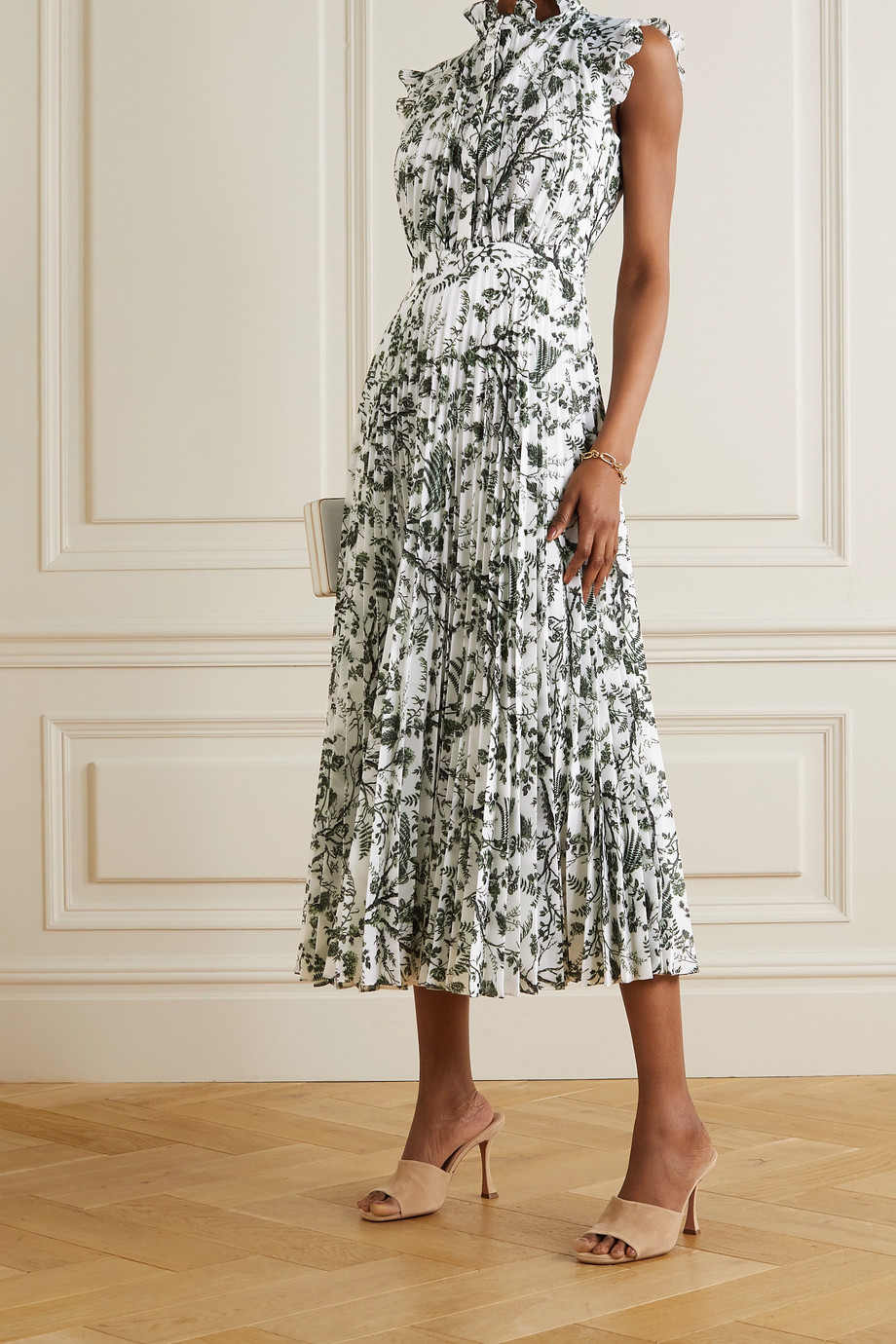 Erdem Roisin ruffled pleated floral-print voile midi dress