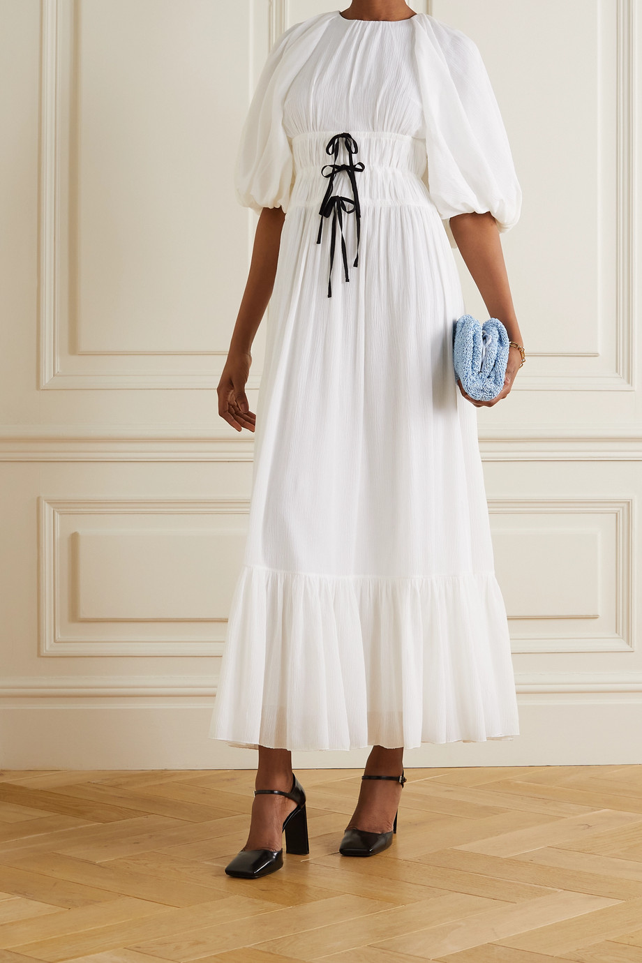 Erdem Marlyn bow-detailed cotton-crepon midi dress