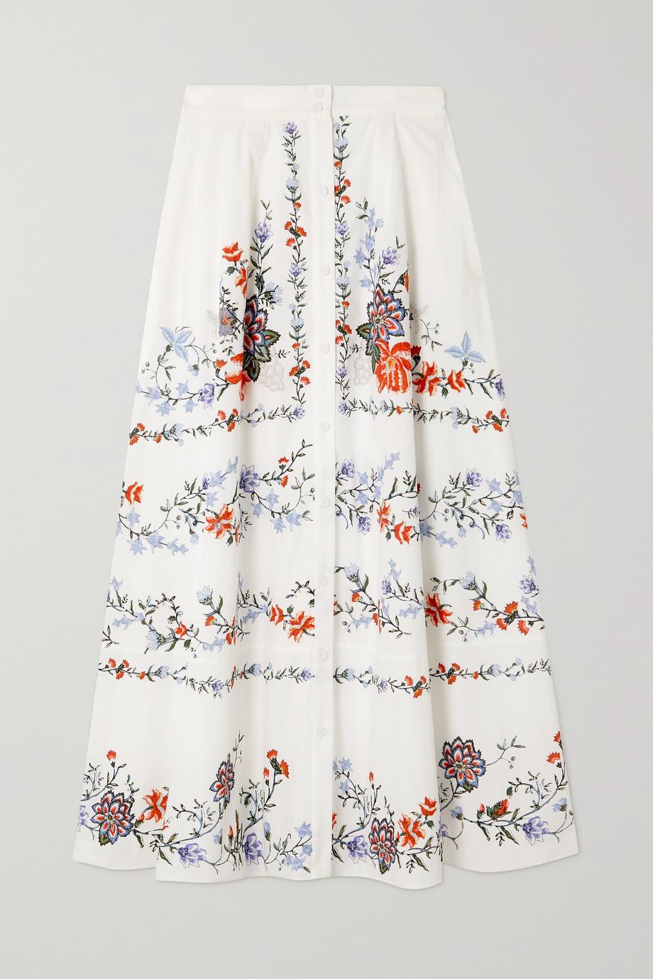 Erdem Mervyn floral-print cotton-poplin skirt