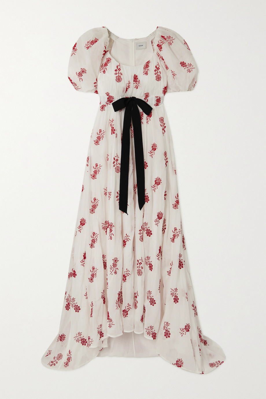Erdem Clarimond tie-detailed embroidered cotton-voile gown